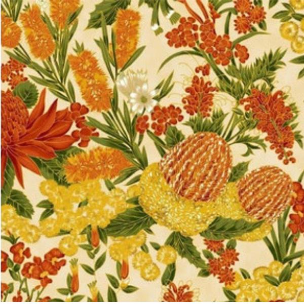 Australian Orange Cream Floral 13 8