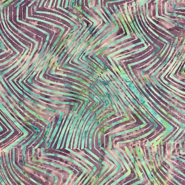 Purple aqua zig zag batik