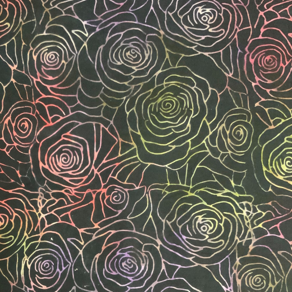 Multiple roses on black batik