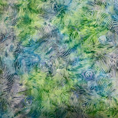 Blue green peacock pattern batik