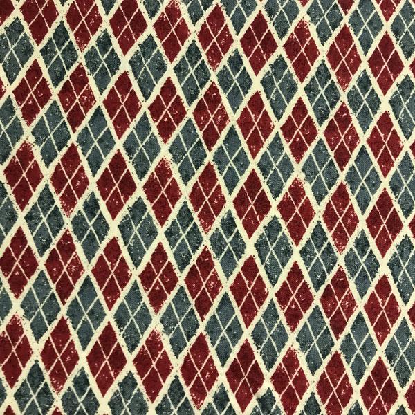 Grey Maroon and Cream Argyle pattern